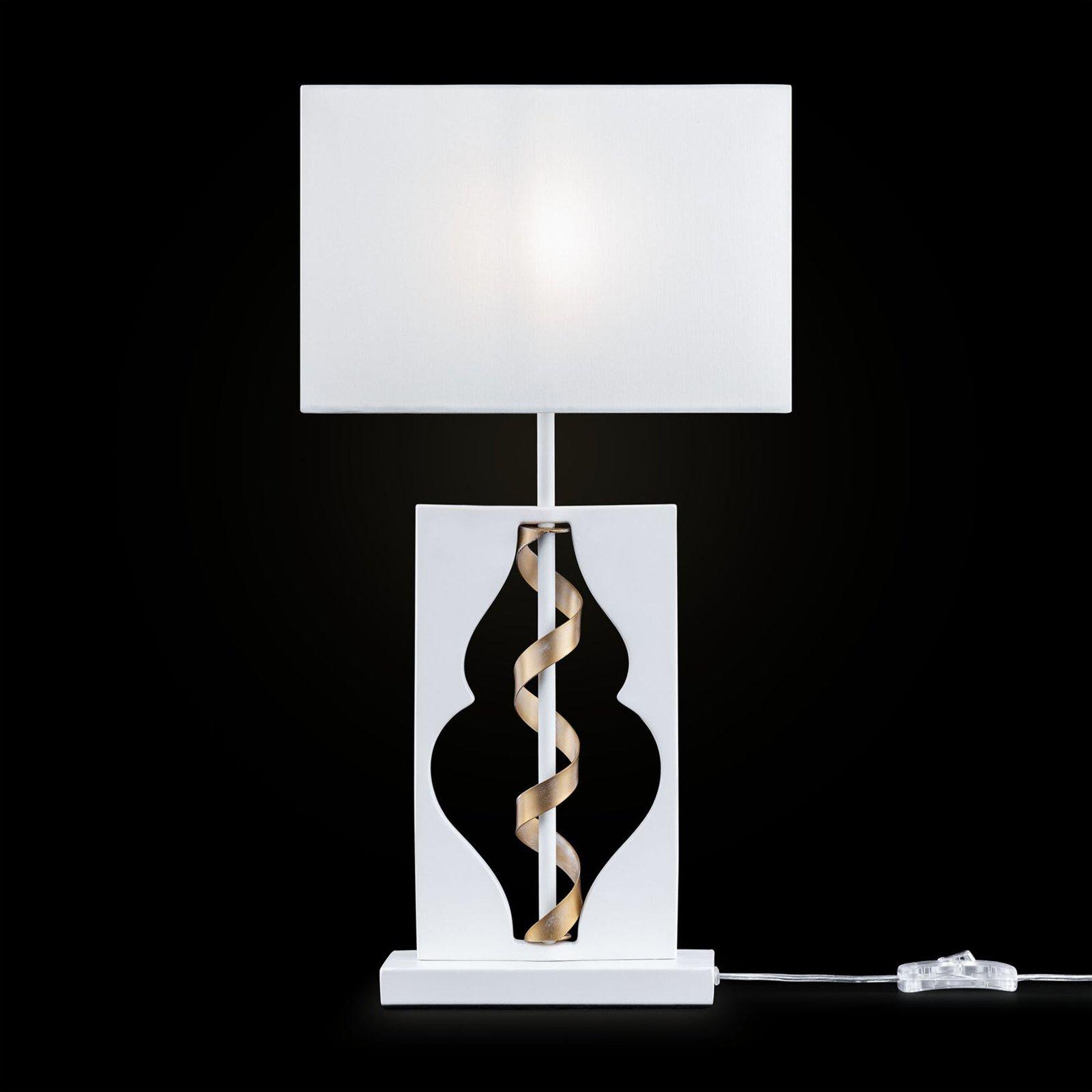 Tekstilbordlampe Intreccio i elegant design