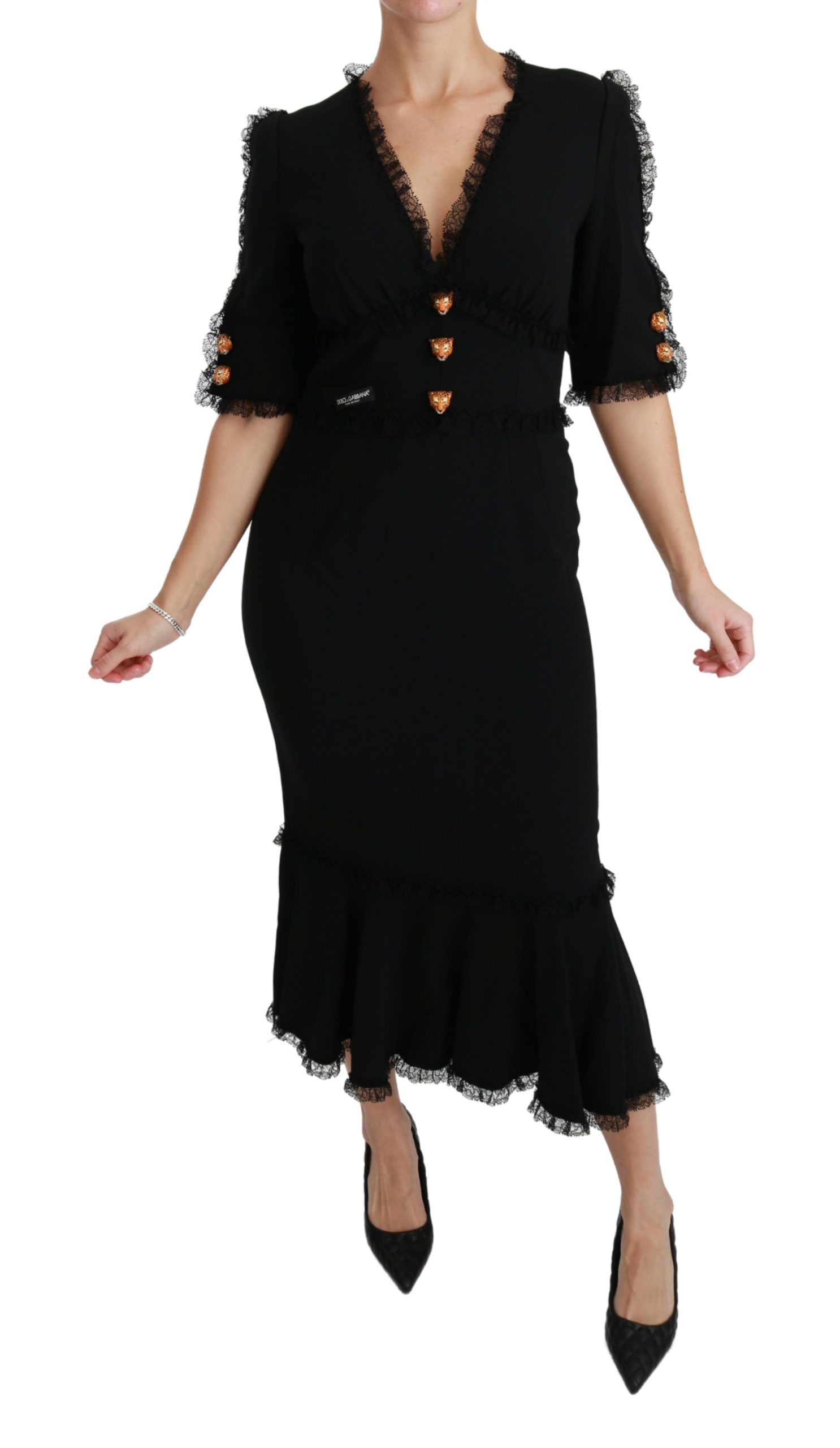 Dolce & Gabbana Women's Lace Shift Leopard Head Dress Black DR2470 - IT44|L