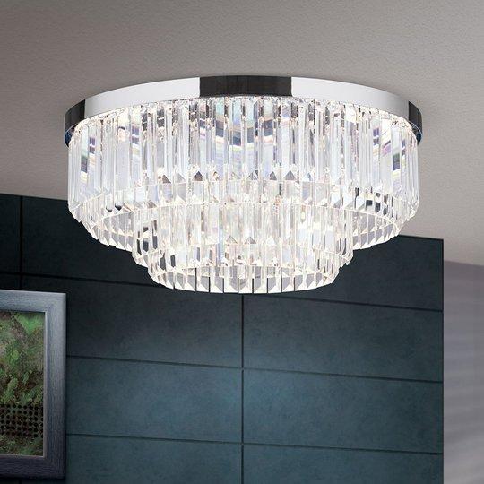 LED-kattovalaisin Prism, kromi, Ø 55 cm