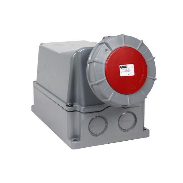 Garo UIV 2125-9 S + RU Seinäpistorasia IP67, 3-napainen, 125A Punainen, 9 h