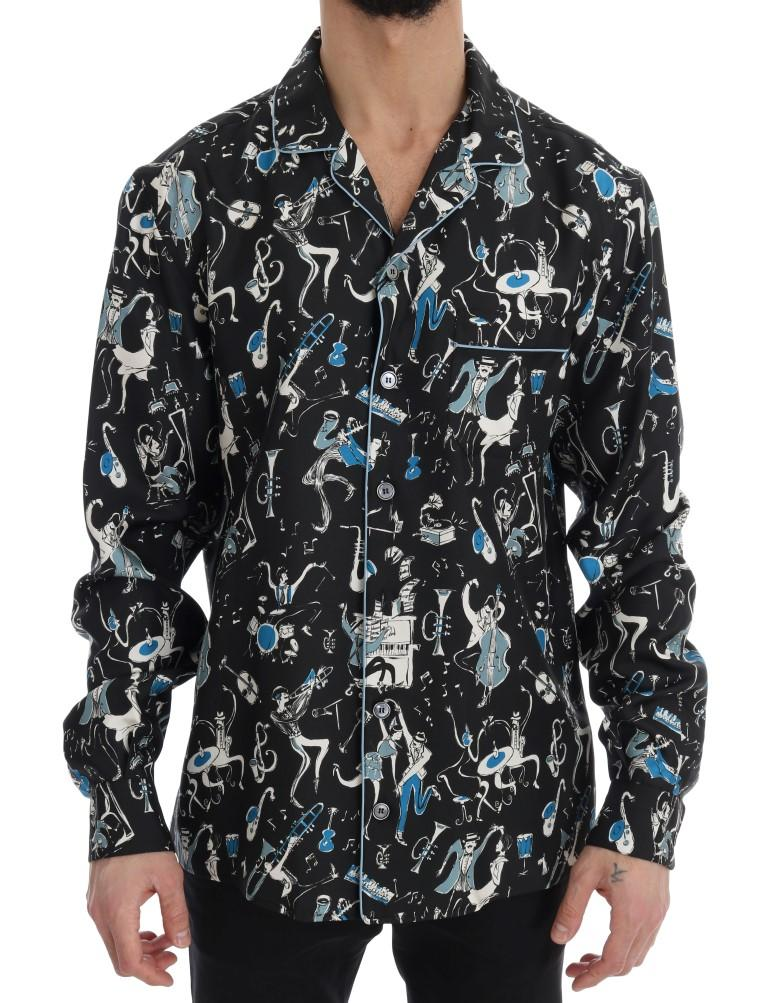 Dolce & Gabbana Men's Silk Jazz Casual Shirt Multicolor TSH1818 - 42