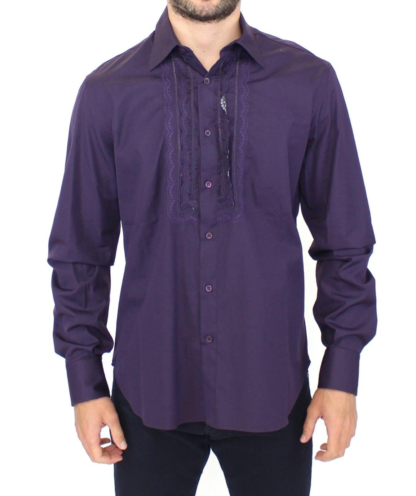 Ermanno Scervino Men's LS Shirt Purple SIG10114 - IT50 | L