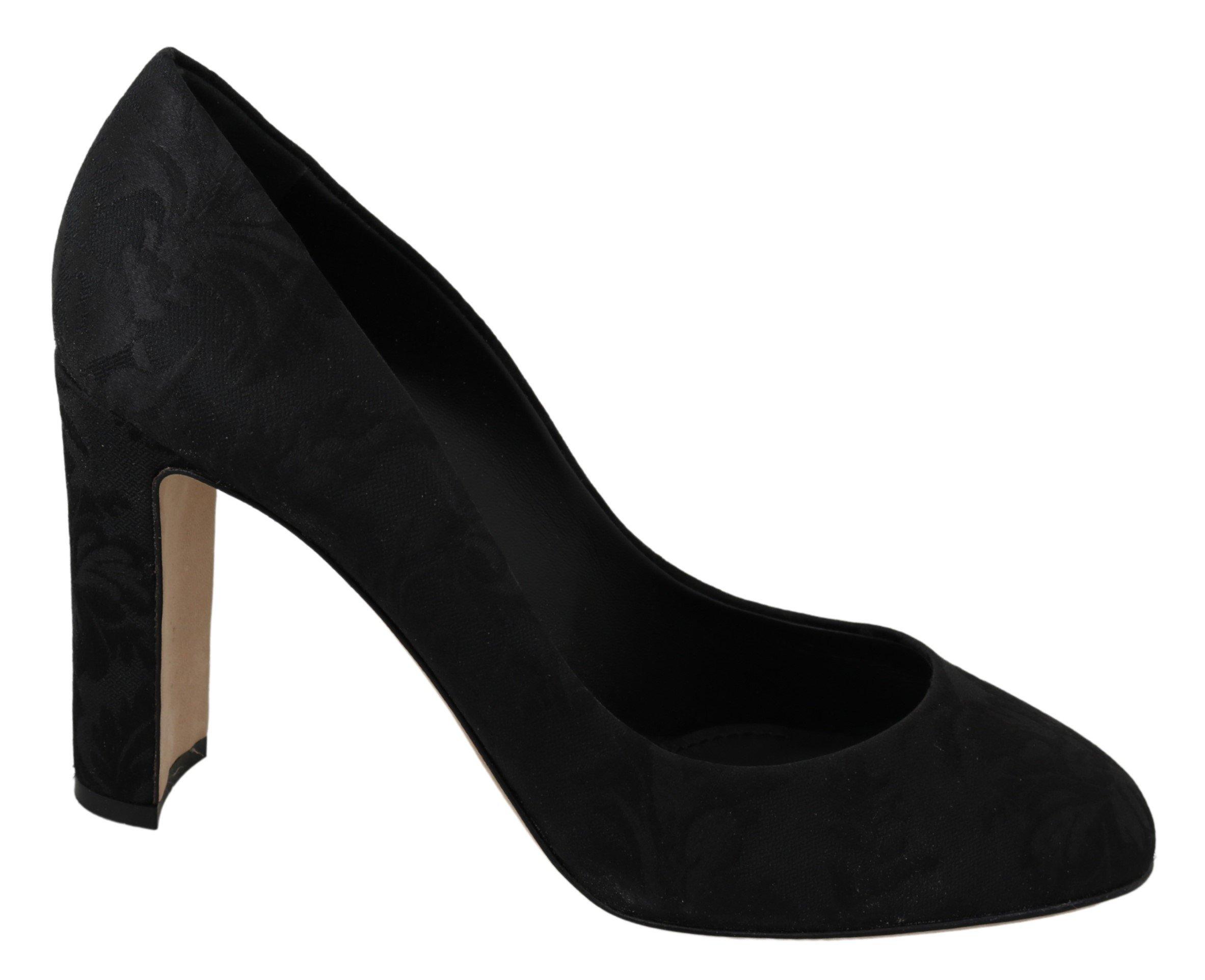 Dolce & Gabbana Women's Jacquard Block Pumps Black LA6930 - EU41/US10.5