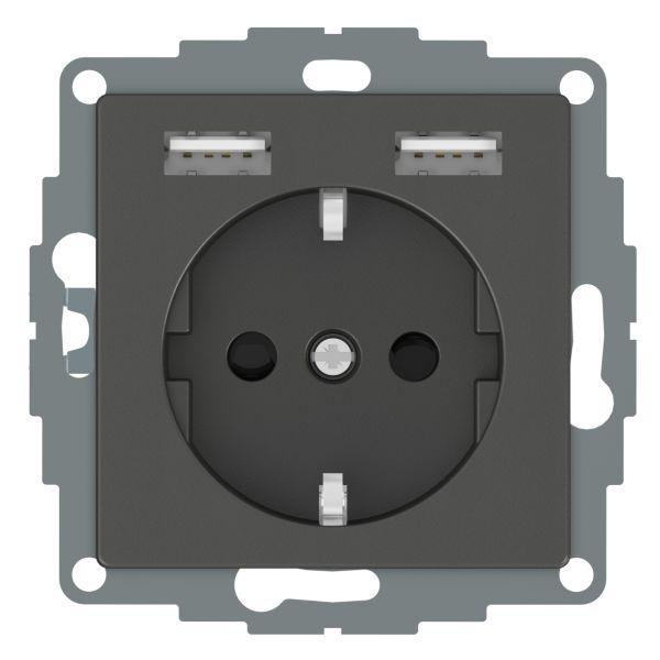 Schneider Electric WDE003179 Seinäpistorasia 1-osainen, 2xUSB, 4A, antrasiitti