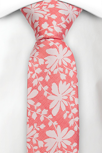 Silke Smale Slips, Korallrødt ved, gulhvitt blomstermønster & blader