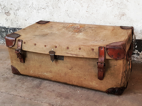 Old Travel Trunk Green