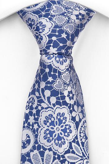 Silke Slips, Stålblå botten med blommönster i vitt, Blå, Blomster og blad