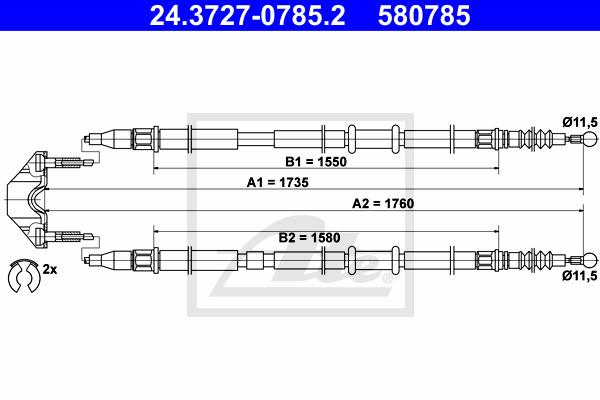 Käsijarruvaijeri ATE 24.3727-0785.2