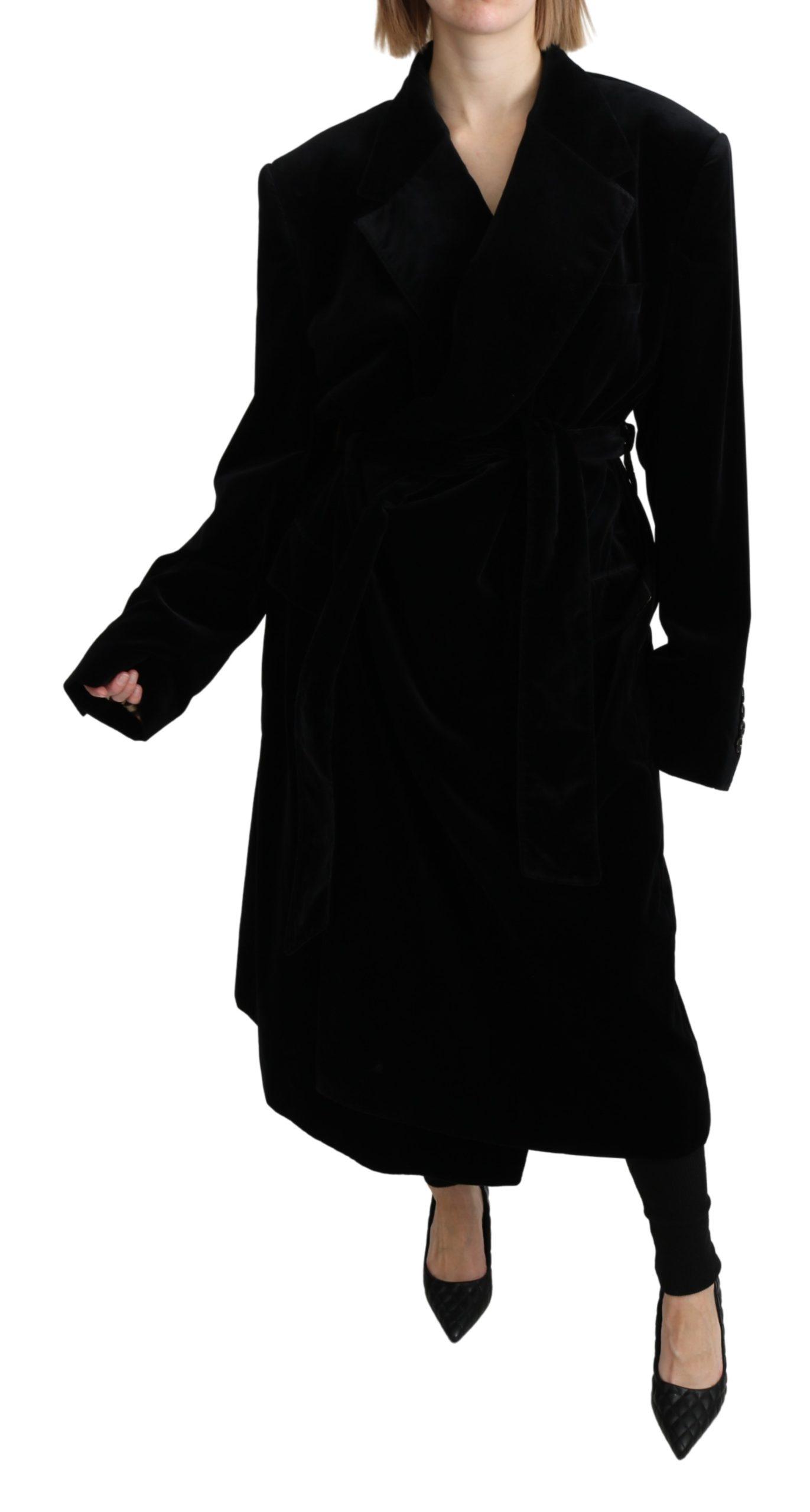Dolce & Gabbana Women's Velvet Trenchcoat Cotton Jacket Black JKT2640 - IT40 | M