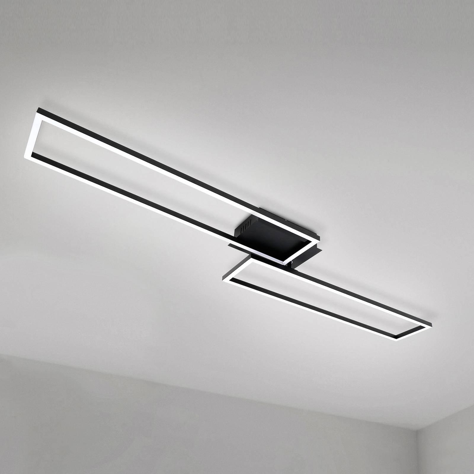 LED-taklampe Frame, fjernkontroll, svart