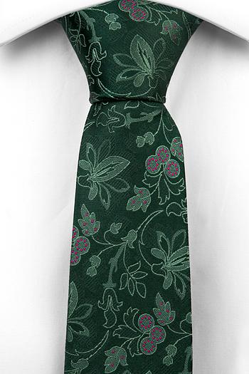 Silke Smale Slips, Ljusgröna Blomster, mörkgrön bas, mörkrosa Prikker