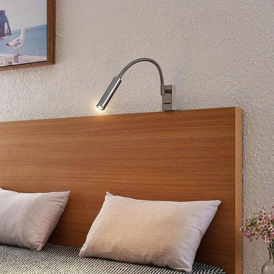 Lucande Anaella LED-vegglampe, nikkel, 55 cm