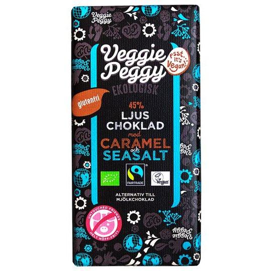 Veggie Peggy Ekologisk Ljus Choklad med Karamell & Havssalt, 85 g