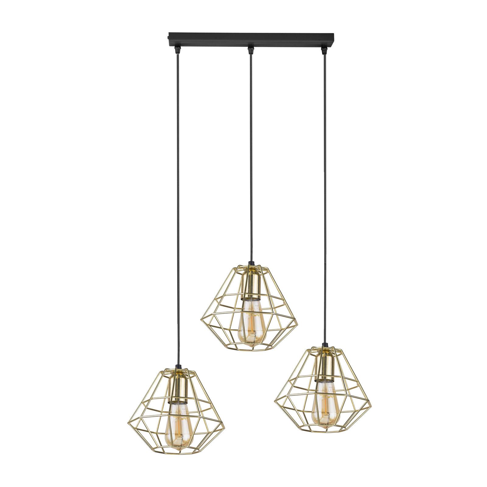 Riippuvalaisin Diamond 3-lamp suora, kulta/musta