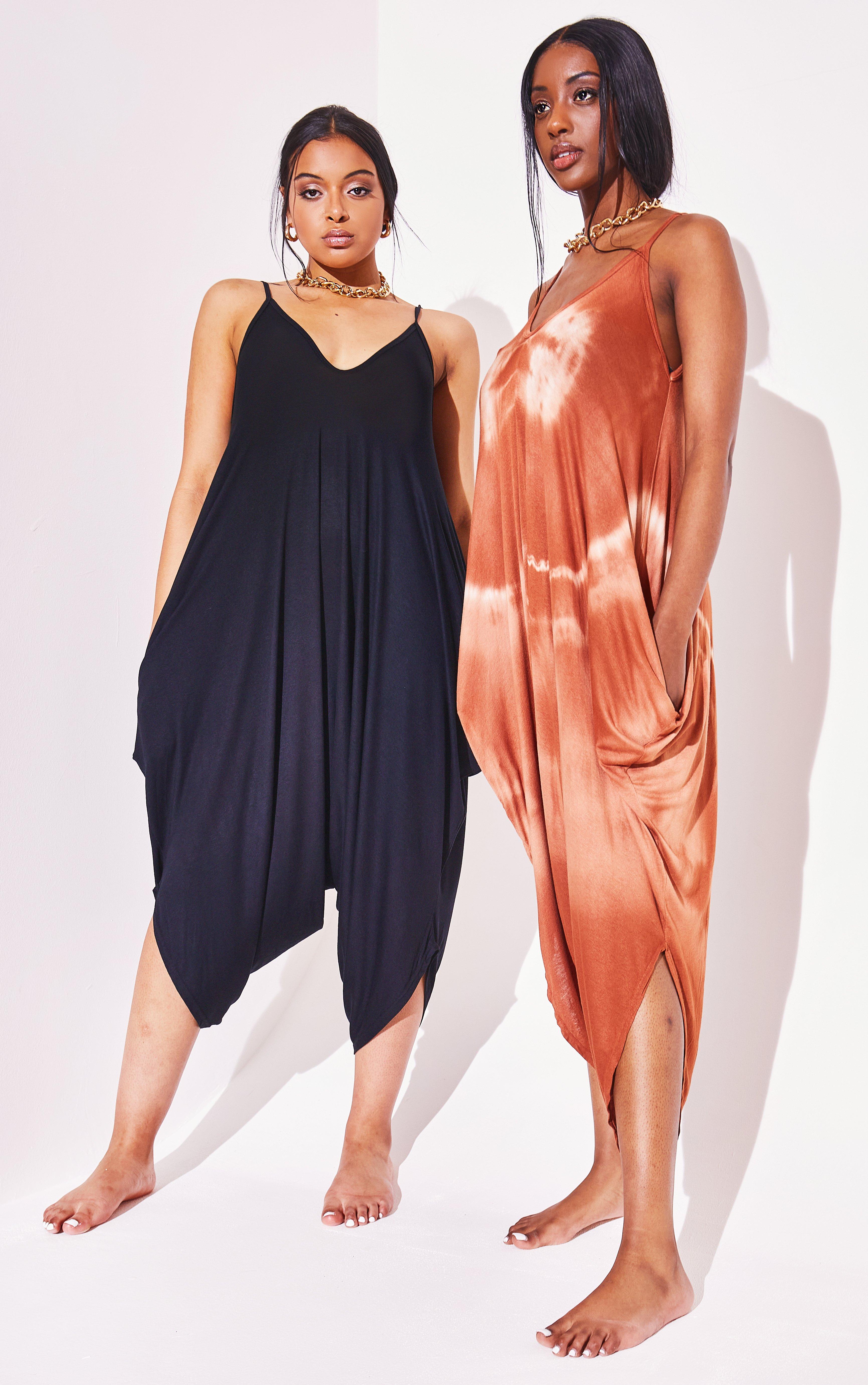 Romper Tie Dye Harem Jumpsuit - Brown / One Size (8-12)