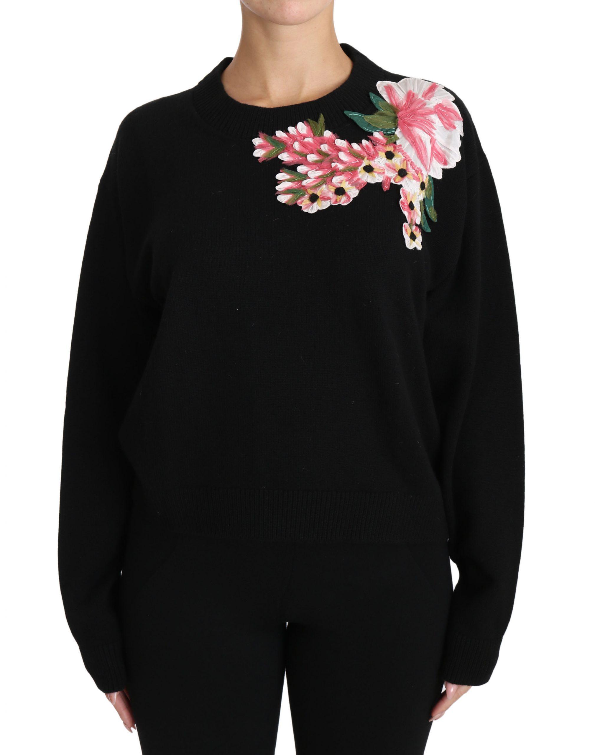 Dolce & Gabbana Women's Cashmere Floral Top Black TSH3090-44 - IT44 L