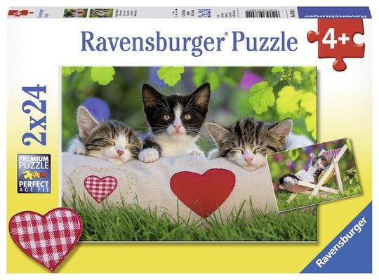 Ravensburger Puslespill Trøtte Kattunger 2x24 Biter