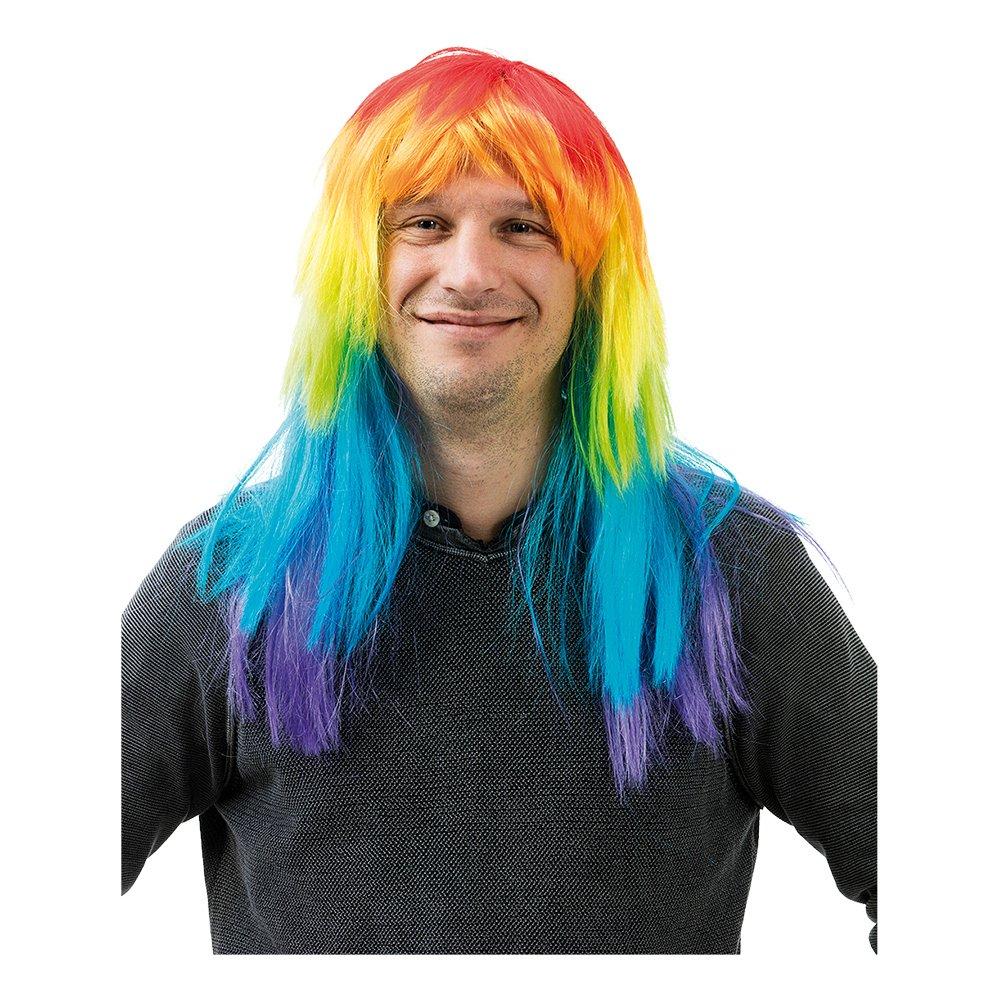 Regnbågsfärgad Peruk - One size