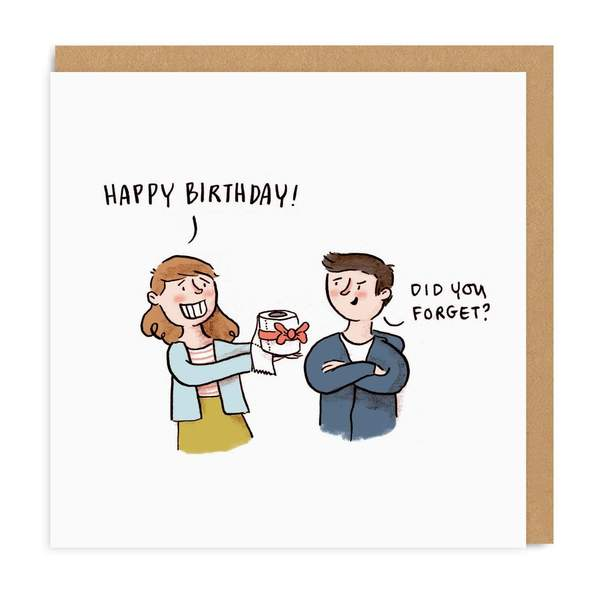 Toilet Roll Square Birthday Greeting Card