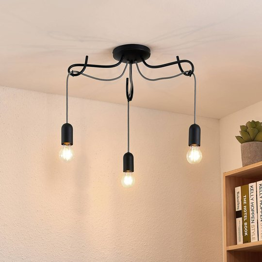 Lucande Jorna taklampe, 3 lyskilder, kabelgrå