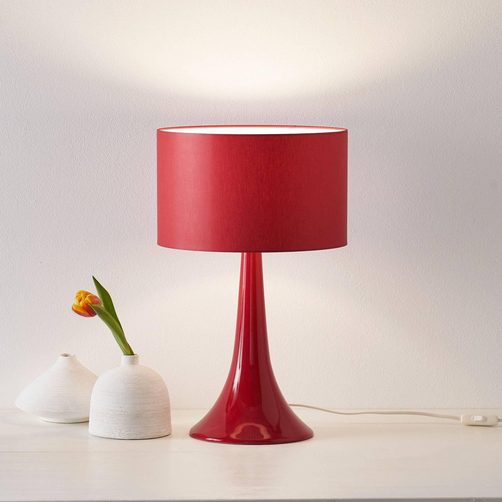 Tekstil-bordlampe L1810 med keramisk fot, rød