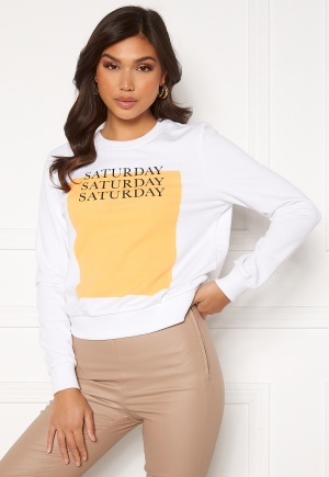 ONLY Weekday Life Reg L/S O-Neck SWT Bright White Saturda XS