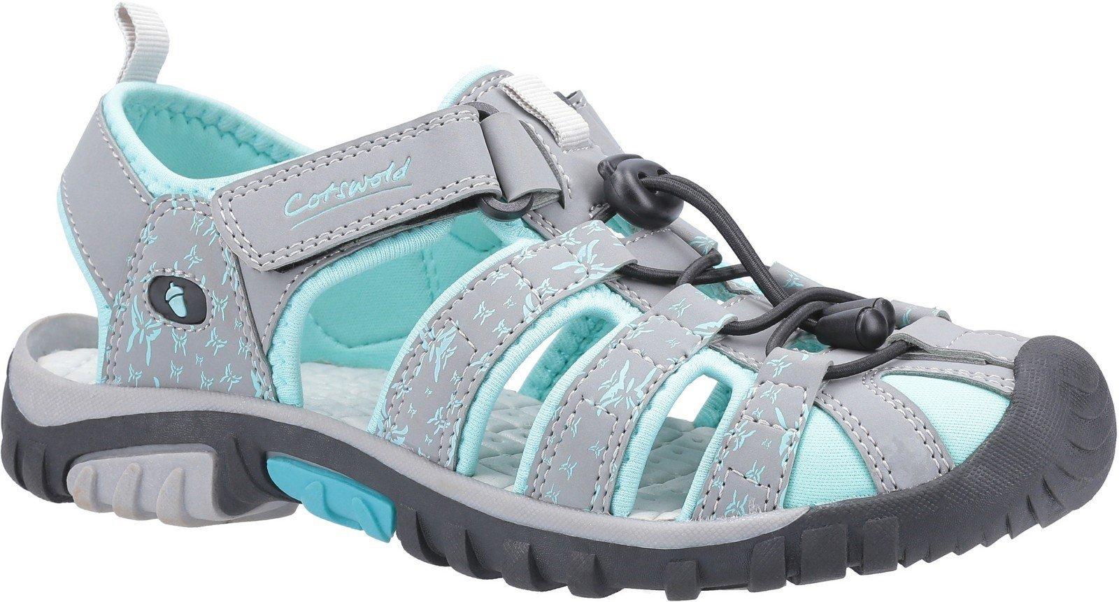 Cotswold Women's Sandhurst Touch Fastening Sandal Various Colours 30143 - Grey/Aqua 3