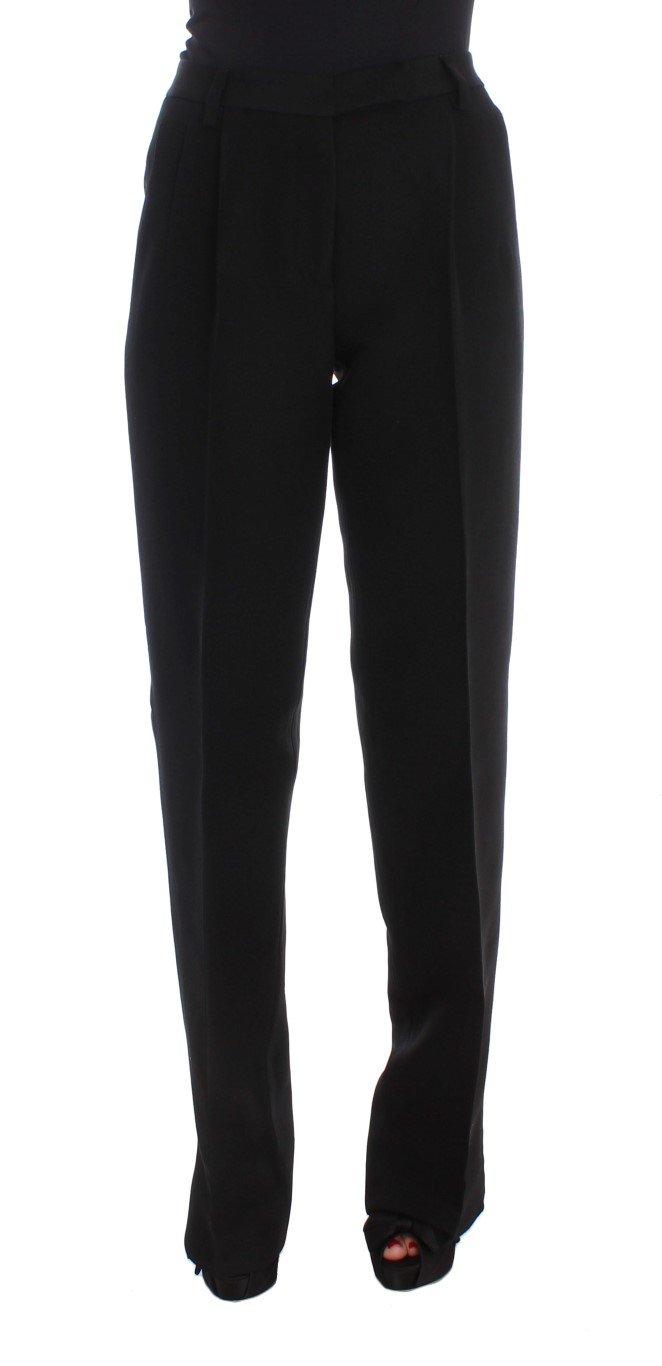 Ermanno Scervino Women's Striped Wide Legs Trouser Black SIG30408 - IT40|S