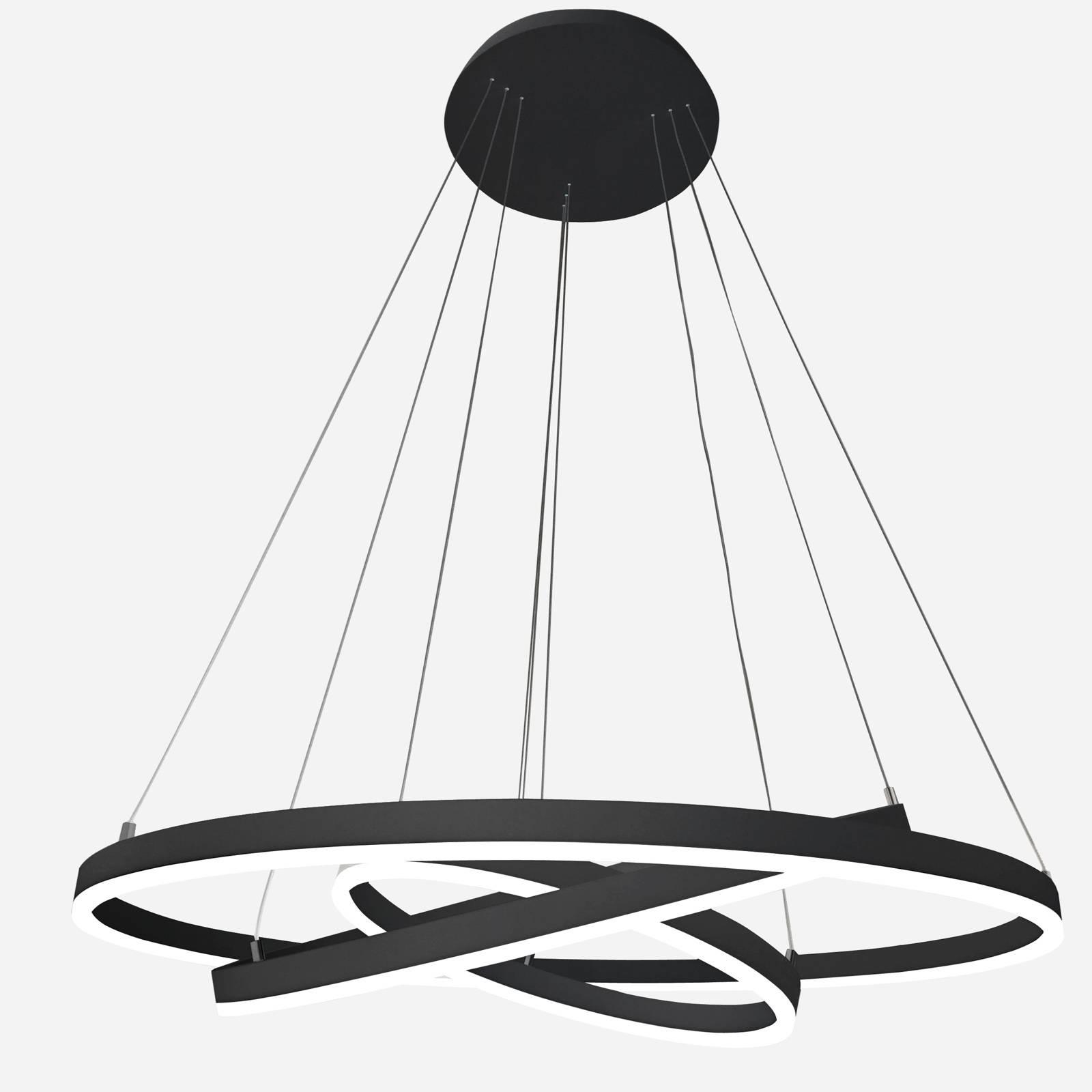 Arcchio Albiona -LED-riippuvalo musta 3 rengasta