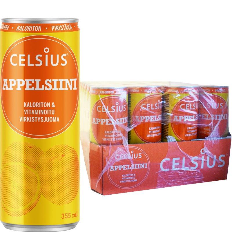 Laatikollinen Appelsiini Celsius-Juomia 24 x 355ml - 33% alennus