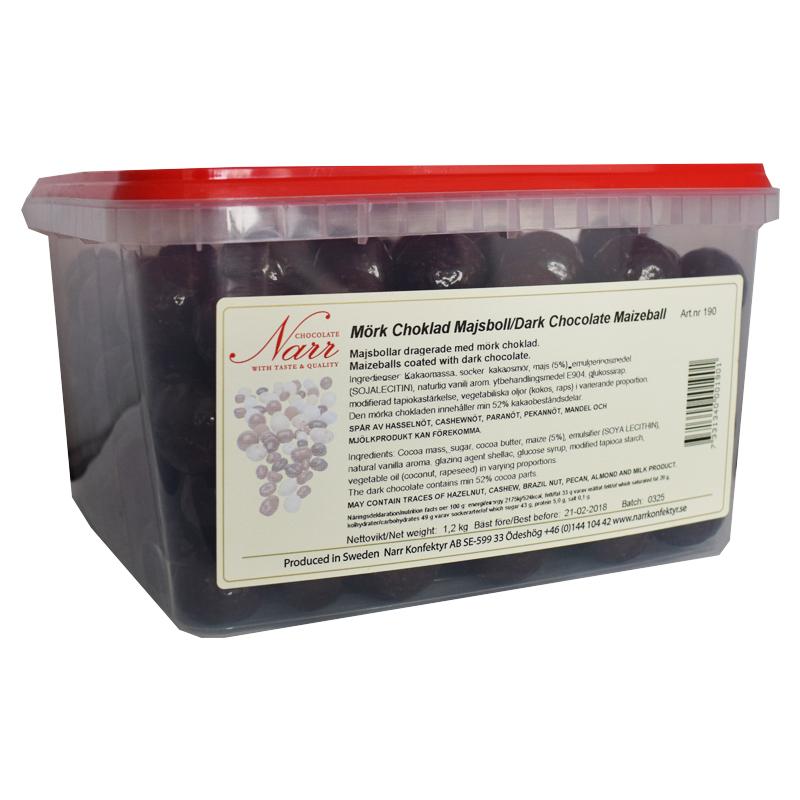 Hel Låda Mörk Choklad Majsboll 1,2kg - 38% rabatt