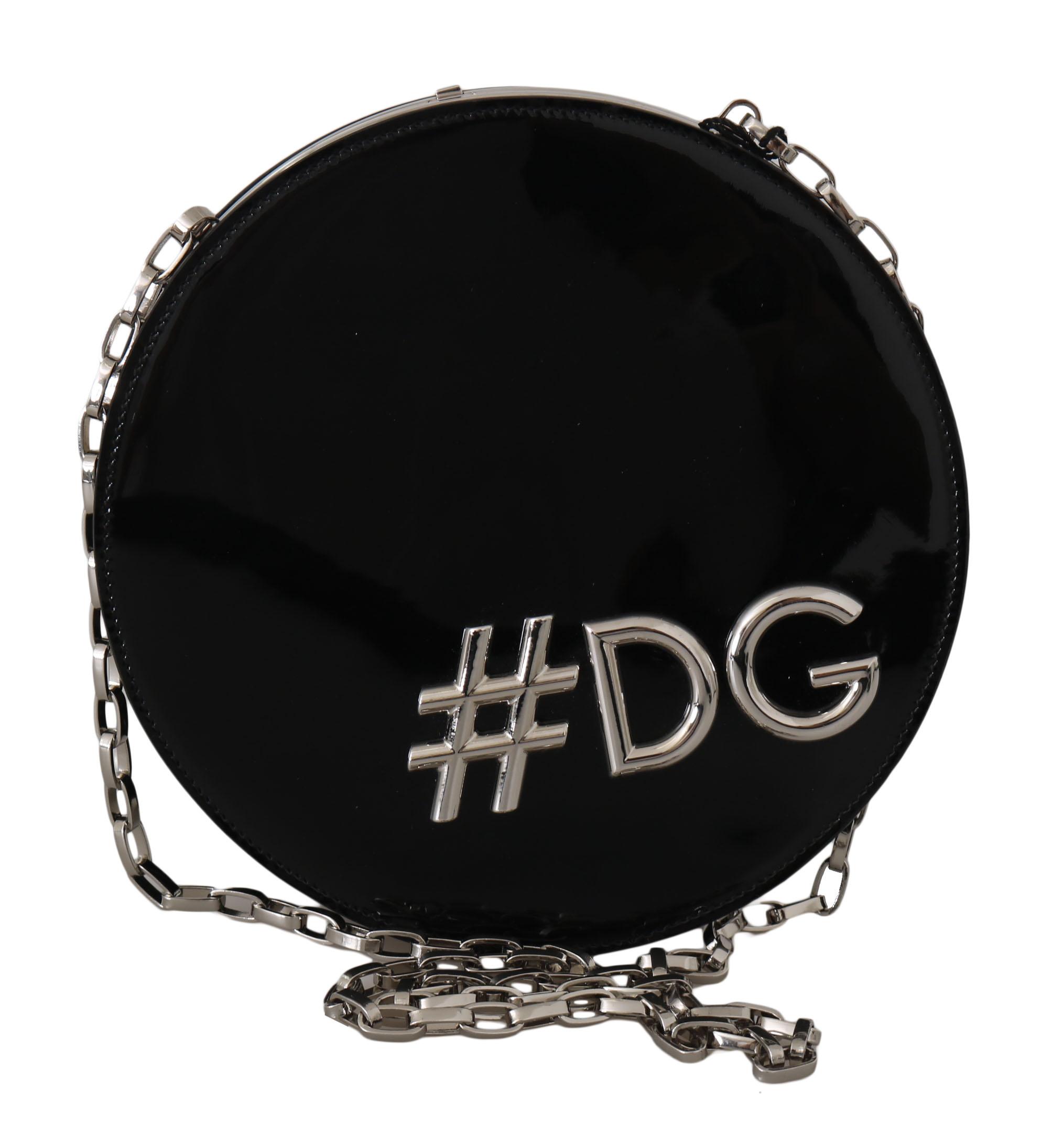 Black Leather Shoulder #DG GIRLS Clutch Purse
