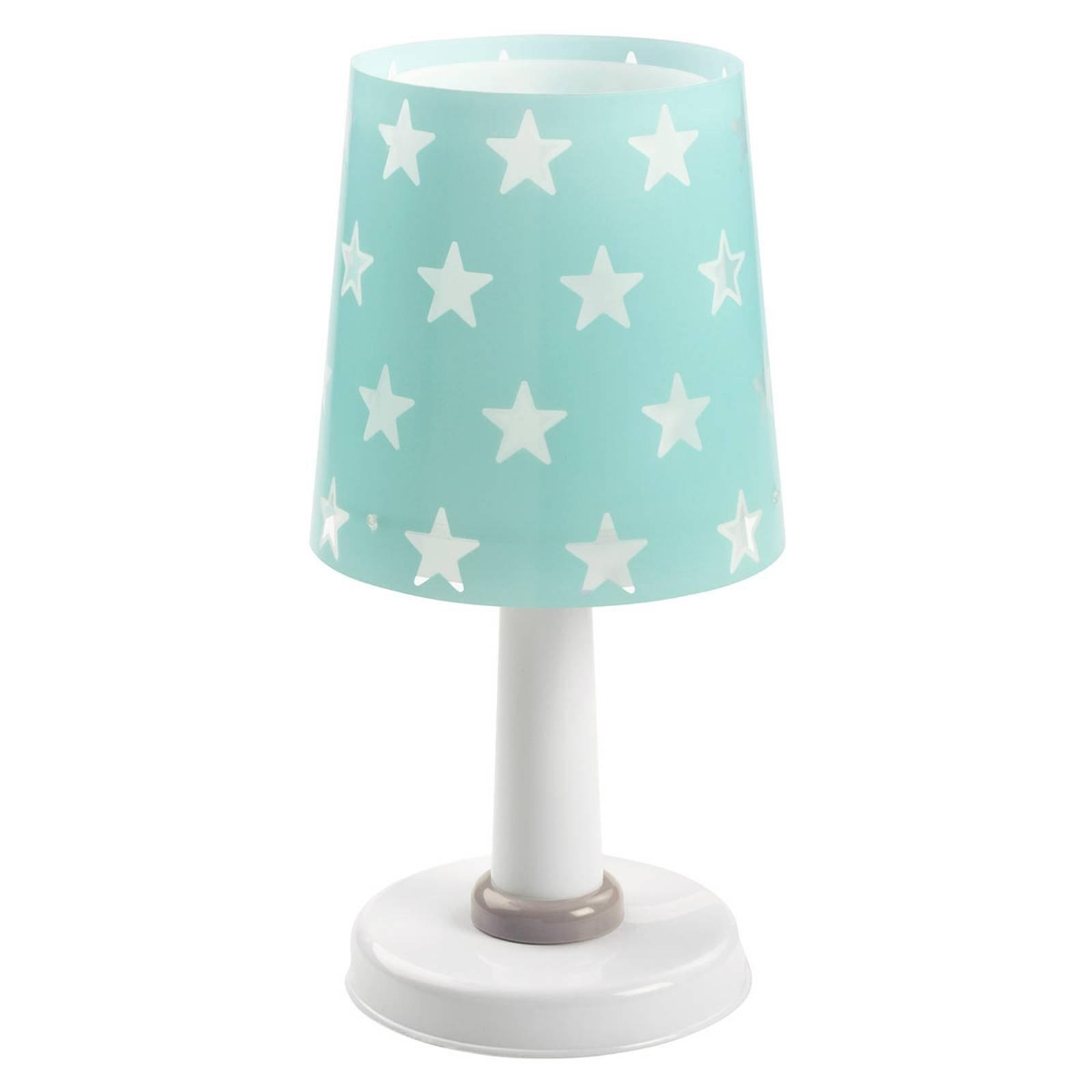 Turkisfarget bordlampe Stars m. lyseffekt