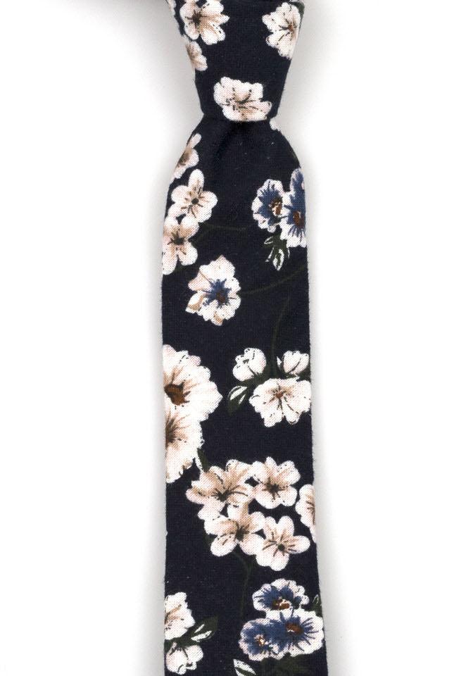 Bomull Smale Slips, Marineblått med blå og rosa blomster, Blå, Blomstertrykk