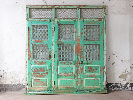 Large Antique Traditional Triple Door Panel Extra Large