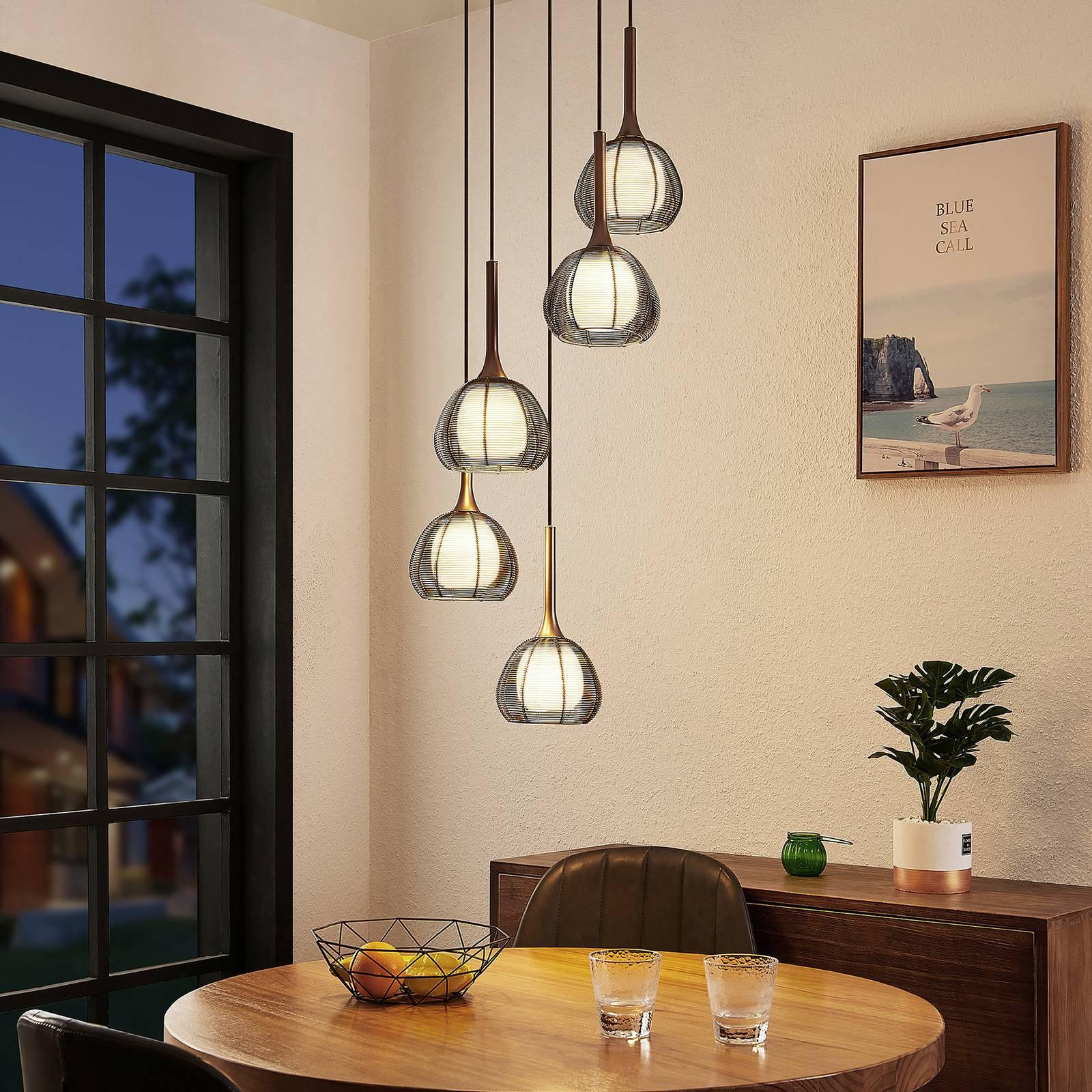 Lucande Tetira -riippuvalo, 5-lamppuinen, ruskea