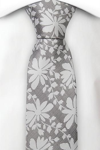 Silke Smale Slips, Stålgrått vev, sølv blomster og blader, Grå, Blomster