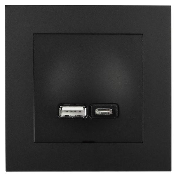 Elko EKO07074 Latausliitäntä USB A+C Plus Musta