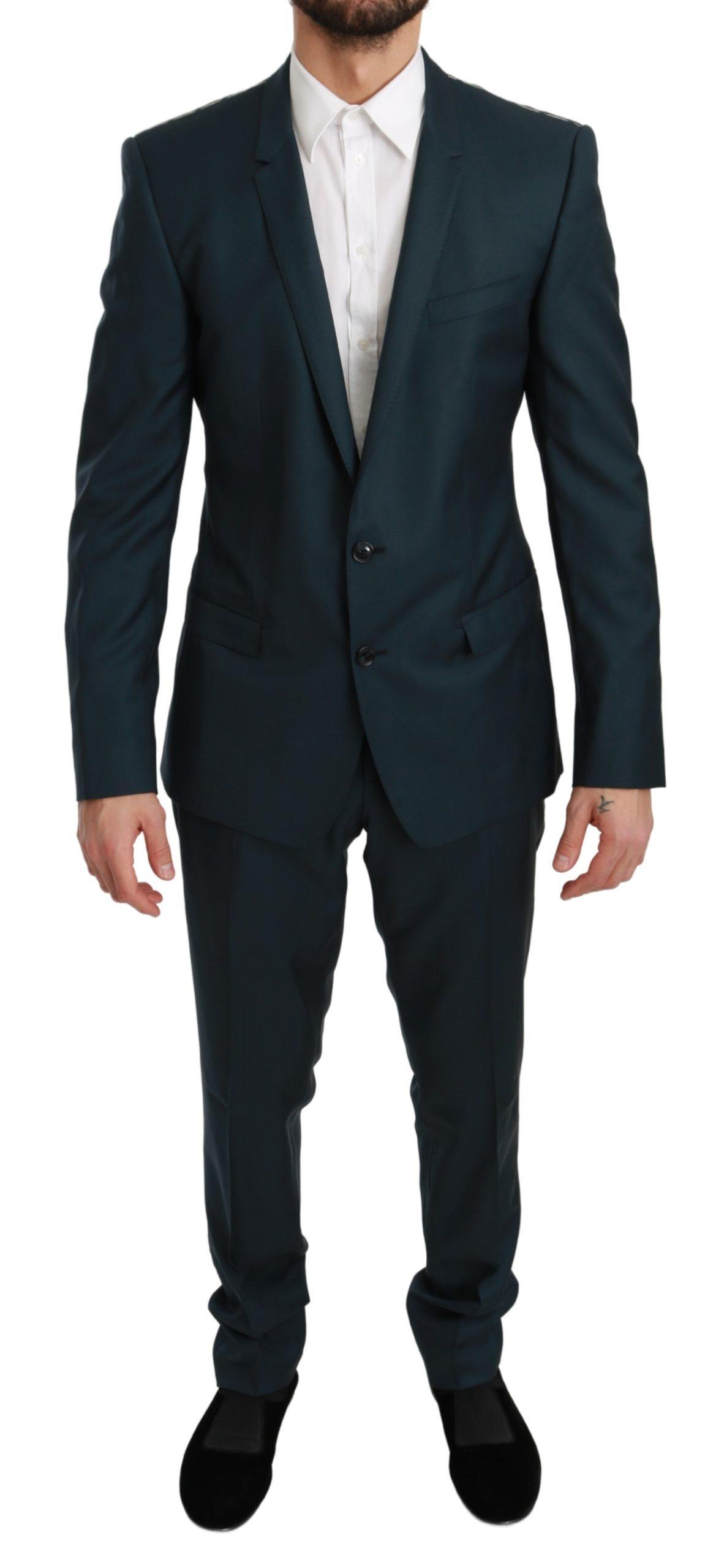 Dolce & Gabbana Men's Wool Slim Fit 2 Piece GOLD Suit Blue KOS1732 - IT50   L