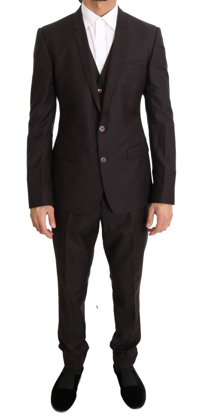 Dolce & Gabbana Men's Wool Silk Slim Fit Two Button Suit Purple KOS1095 - IT48 | M
