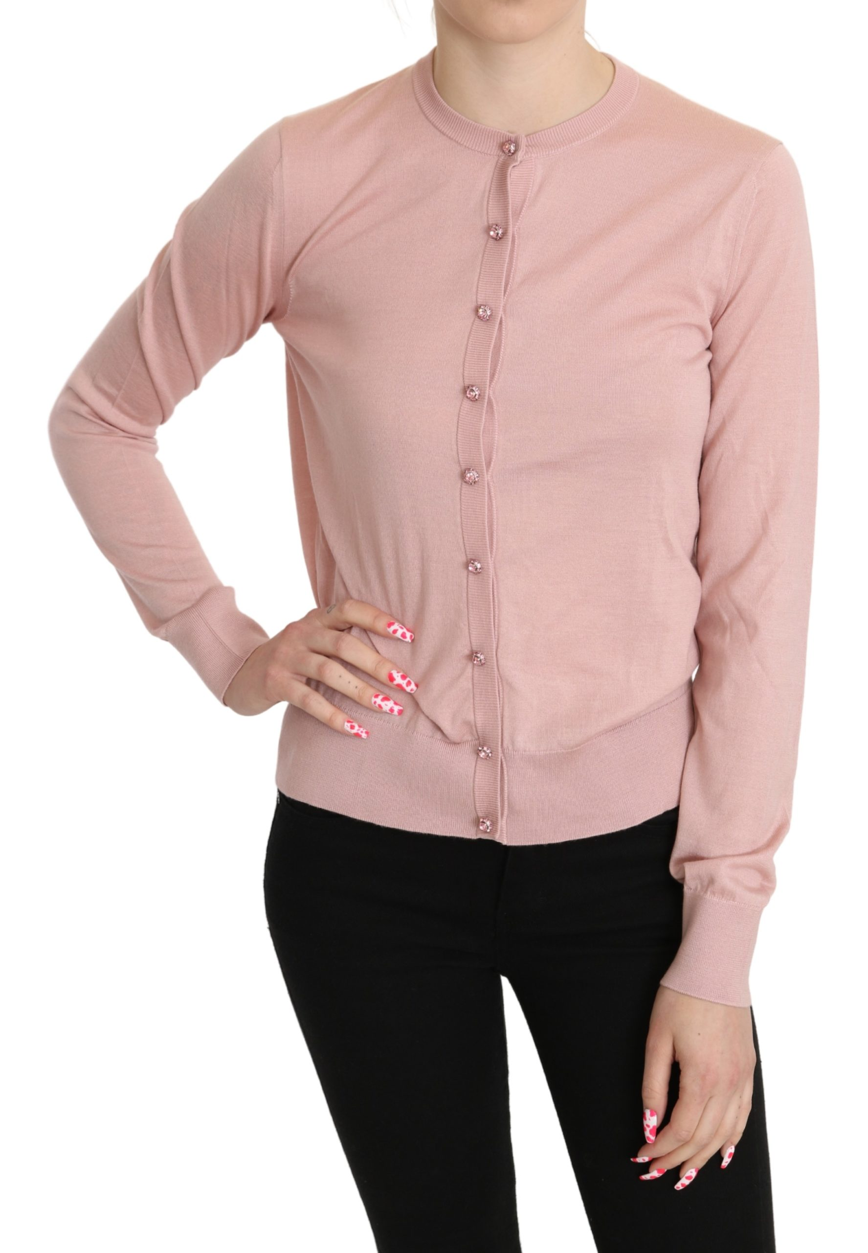 Dolce & Gabbana Women's Cashmere Silk Crystal Cardigan Pink TSH5248 - IT42|M