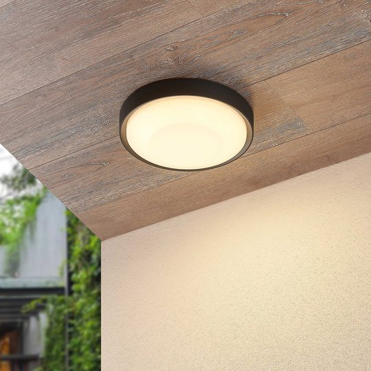 Lucande Lare -LED-ulkokattovalaisin, Ø 25 cm