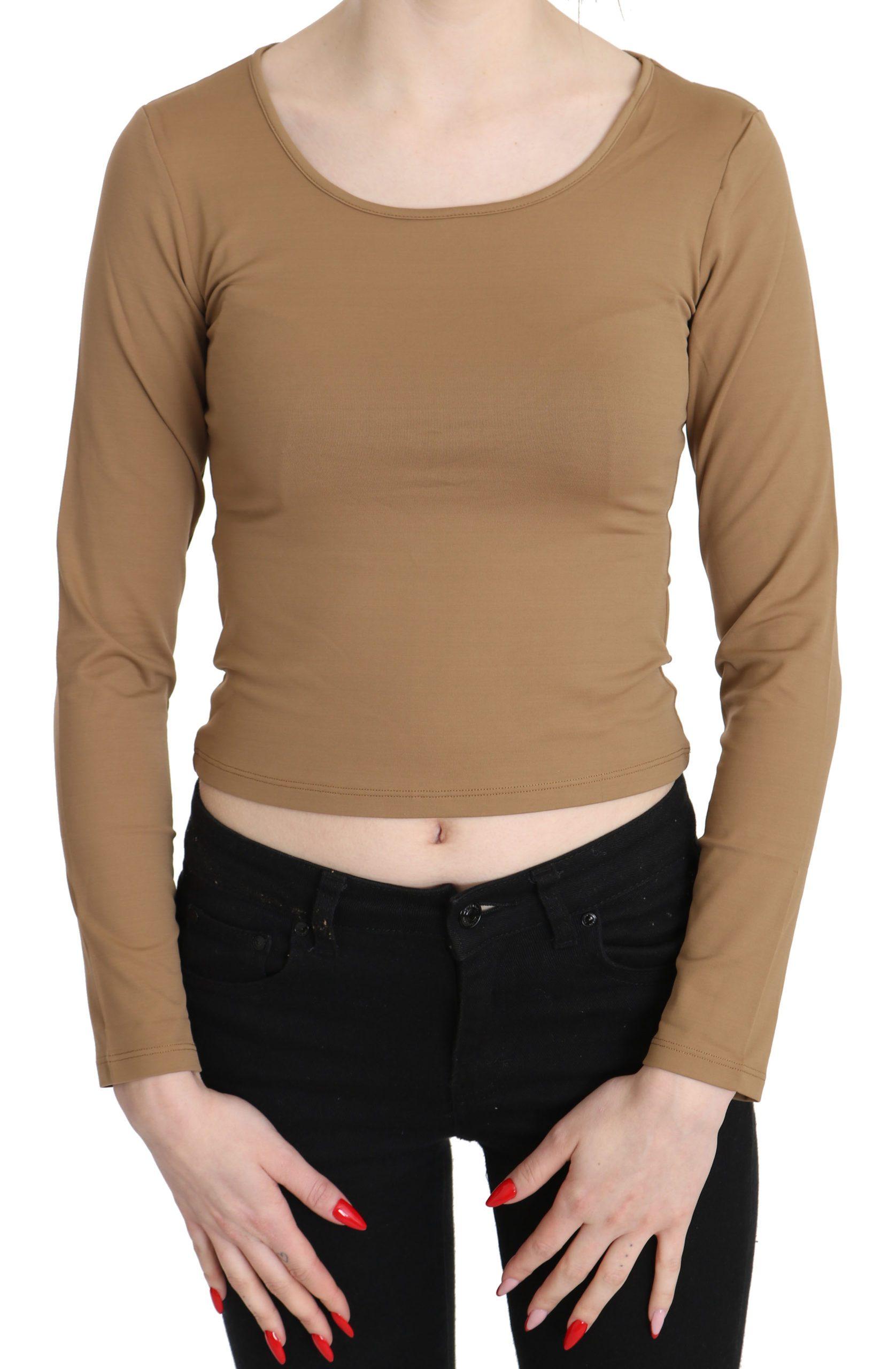 GF Ferre Women's Round Neck LS Slim Crop Top Brown TSH3428 - IT40|S