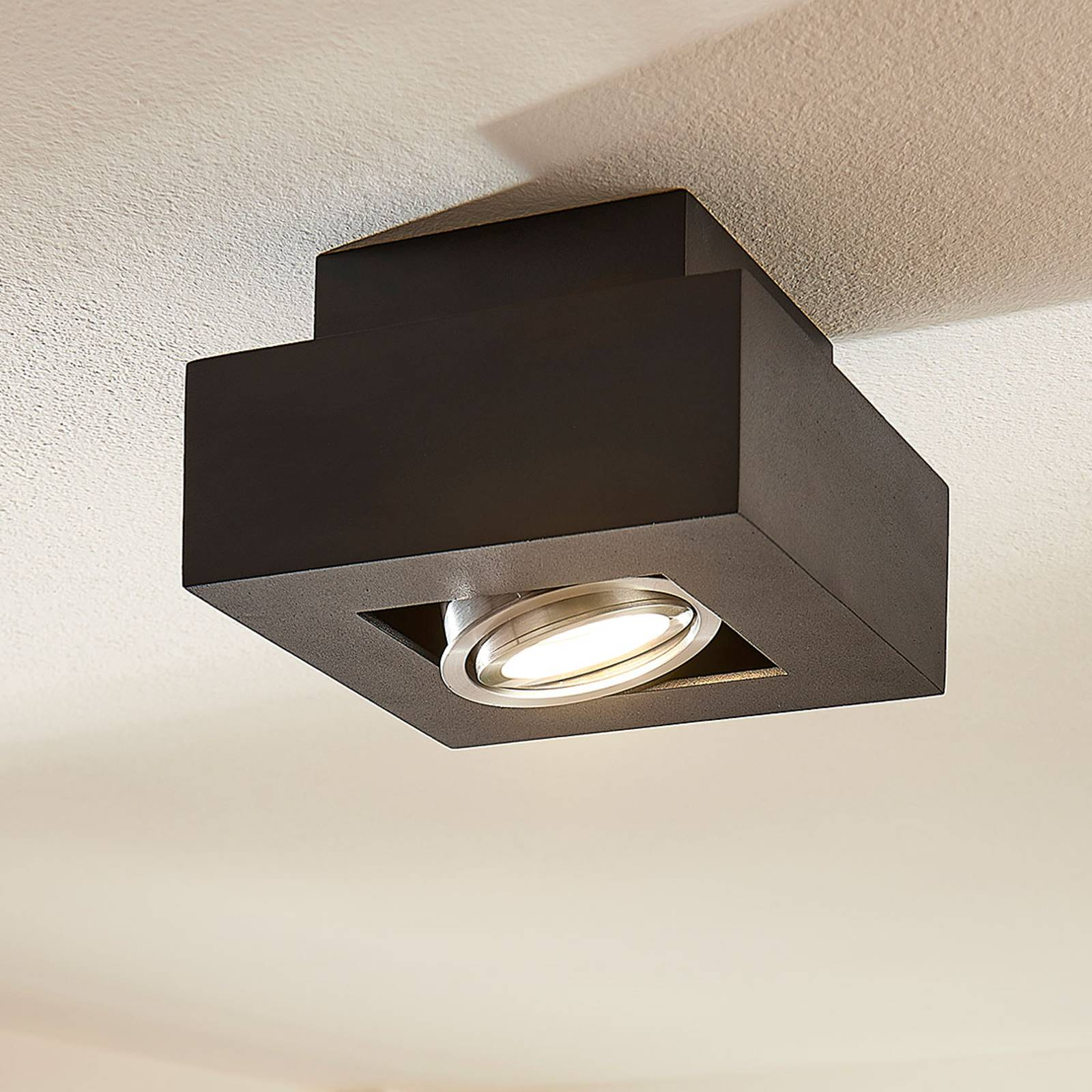 LED-kattolamppu Vince, 14 x 14 cm musta