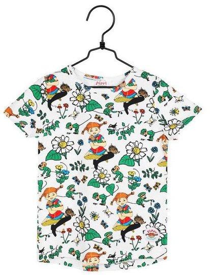 Pippi Langstrømpe Prestekrage T-Skjorte, Hvit, 86