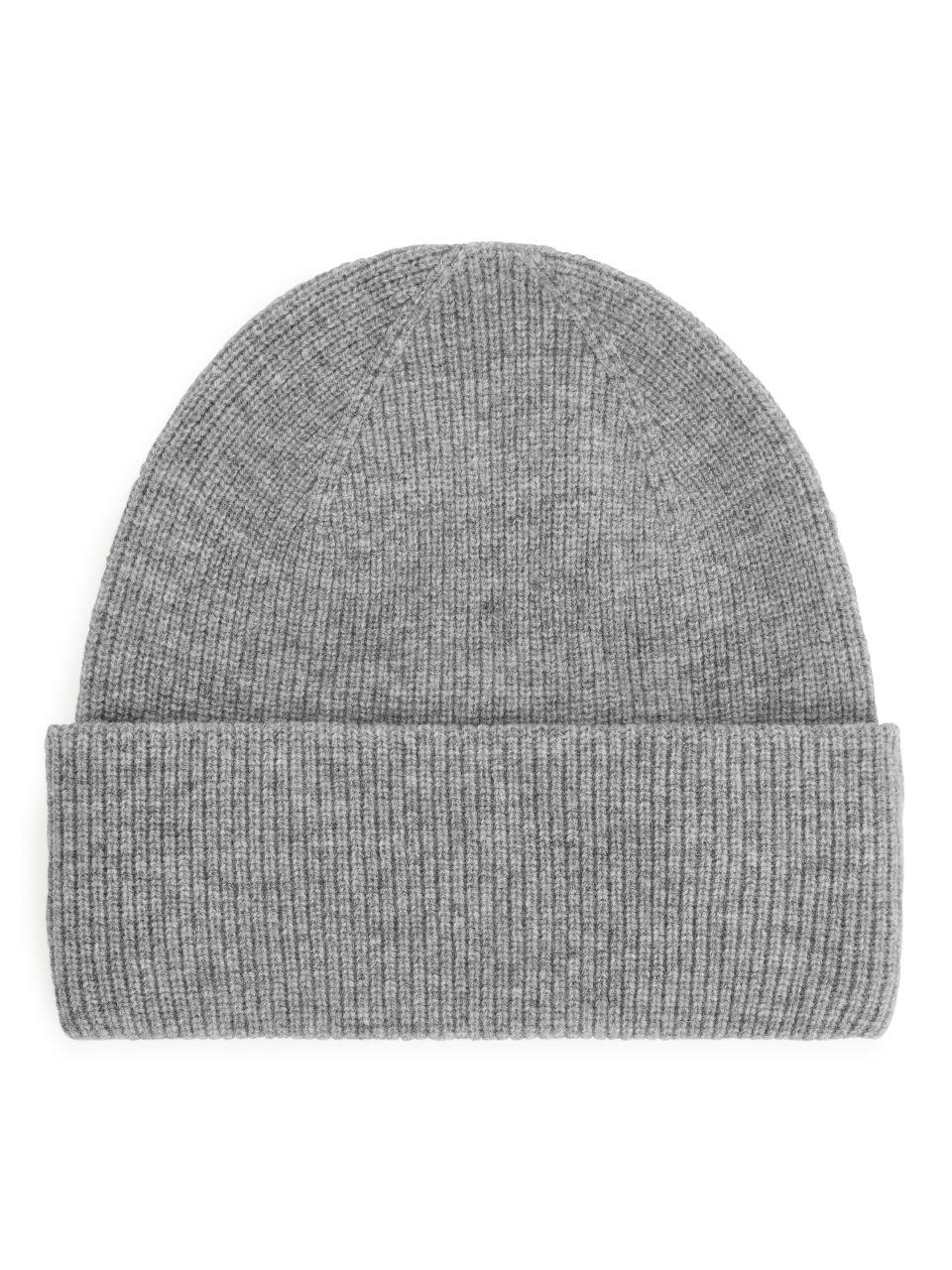 Fold Up Wool Beanie - Grey