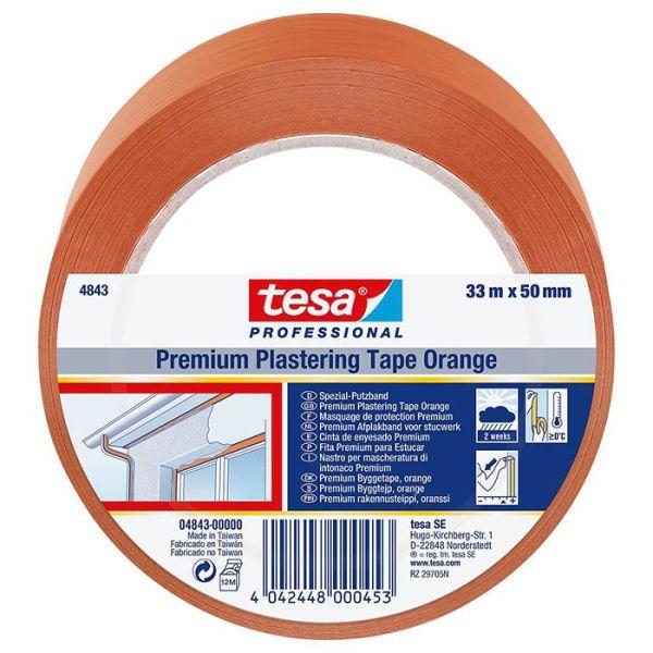 Tesa 4843 Rappausteippi PVC, UV-kestävä, 33 m x 50 mm, oranssi