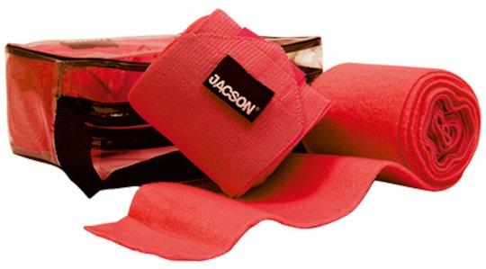 Jacson Ridebandasje Fleece og Elastisk tøystrikk 4-Pack, Rød