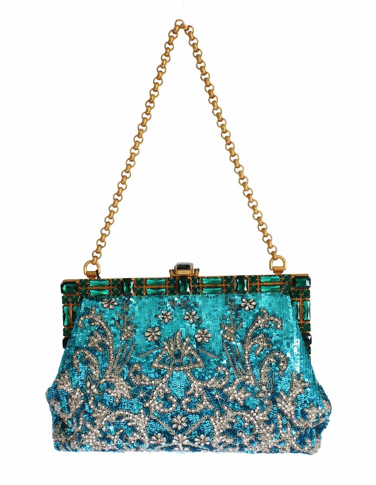 Dolce & Gabbana Women's Clear Crystal Evening Clutch Bag Blue SIG19544