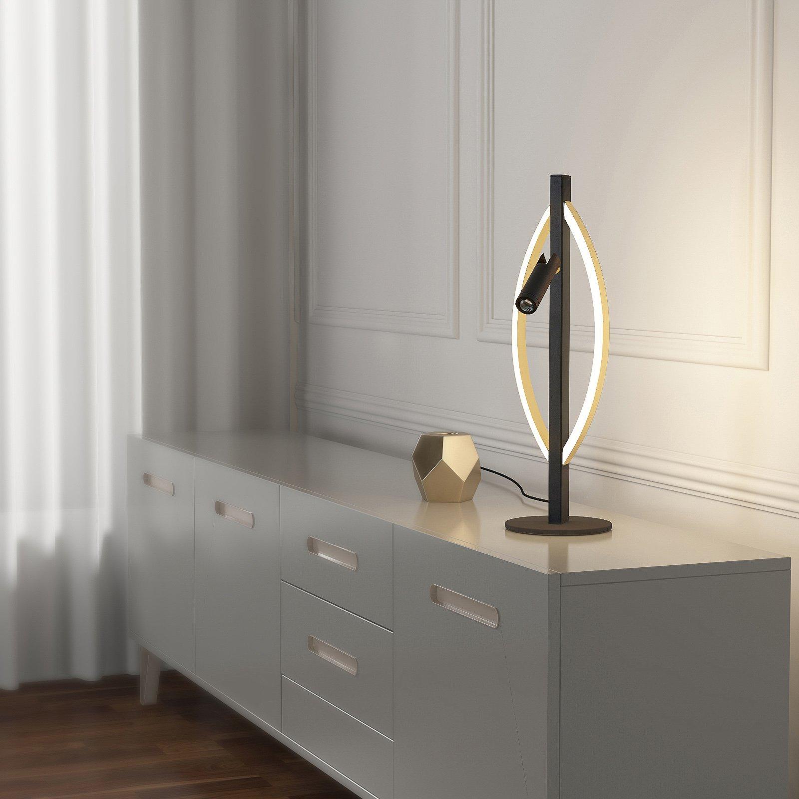 Lucande Matwei LED-bordlampe, oval, messing